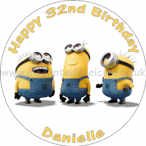 MINIONS DESPICABLE ME PERSONALISED ROUND EDIBLE BIRTHDAY CAKE TOPPER